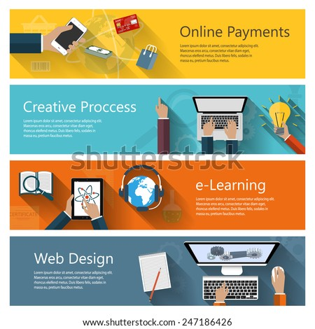 Modern concepts collection in flat design for e-business, web sites, mobile applications, distance learning, online payments, banners etc. Vector eps10 illustration - stock vector