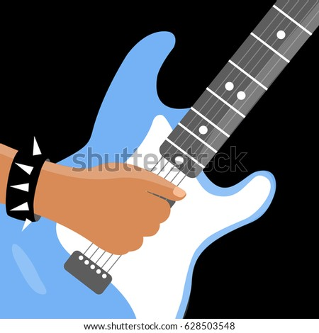 Modern Cool Cartoon Rock Musicians Hand Man Isolated Vector Playing On Light Blue Electric Guitar At