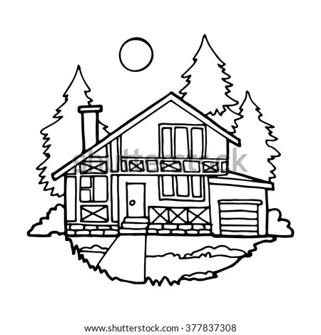Modern Cottage Surrounded By Fir Trees Stock Vector 377837308