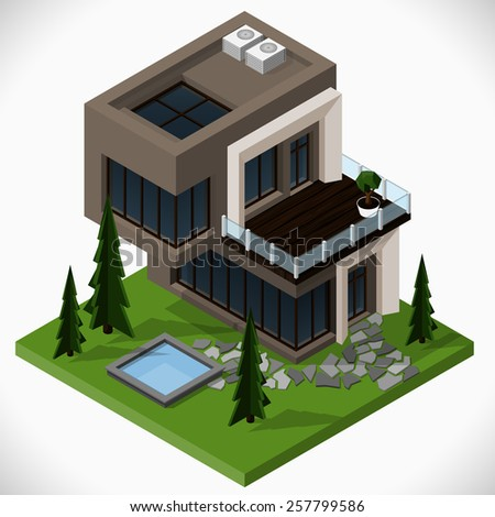 Modern country house with a lawn and a swimming pool. Vector isometric illustration. - stock vector