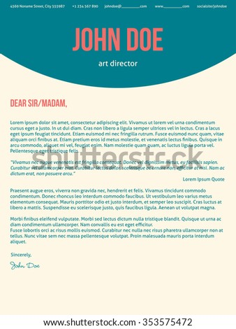modern cover letter cv resume template design in turquoise red colors - Cover Letter And Resume Template