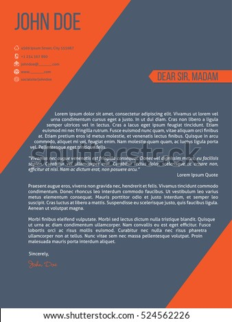 Modern cover letter resume cv template design with orange stripes