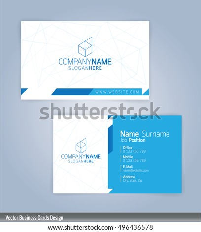 Modern Creative And Clean Business Card Design Template Blue White