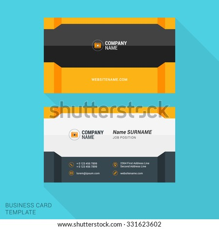 Modern Creative and Clean Business Card Template with Yellow and Gray Flat Style Elements. Vector Illustration - stock vector