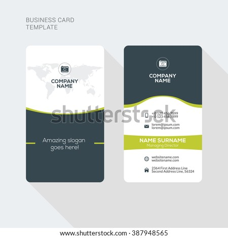 Modern creative clean two sided business stock vector 2018 modern creative and clean two sided business card template flat style vector illustration vertical wajeb Images