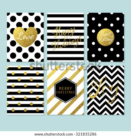 Modern creative Christmas cards in black, gold and white. Vector illustration - stock vector