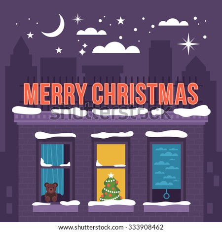 Modern creative Christmas holiday greeting card design with urban landscape. Vector illustration - stock vector