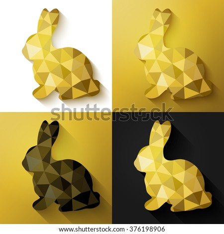 Modern creative Easter cards in black, gold and white. Vector illustration. Flat design polygon of golden bunny. Perfect for greeting card or elegant party invitation. - stock vector
