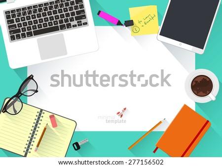 Modern creative office desktop workspace. Flat design vector mock up.  - stock vector