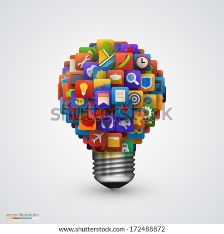 Modern creative vector light bulb with application icon. Business software and social media concept.  - stock vector