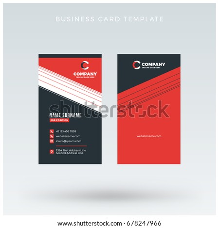 Vertical Doublesided Red Black Business Card Stock Vector ...