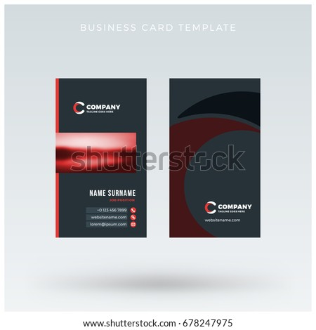 Modern creative vertical red business card stock vector 678247975 modern creative vertical red business card template flat design vector illustration stationery design reheart Gallery