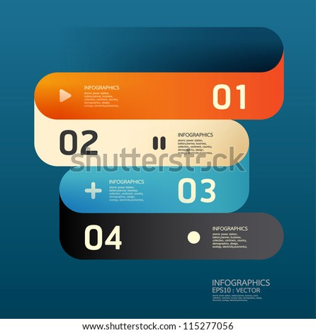 Modern  Curve Design template  / can be used for infographics / numbered banners / horizontal cutout lines / graphic or website layout vector/Horizontal - stock vector