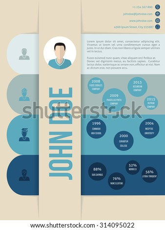 Modern cv curriculum vitae resume template design in blue shades - stock vector