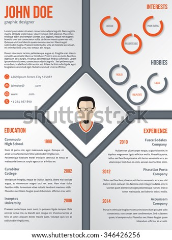 Modern cv resume curriculum vitae template design with photo in middle rhomb - stock vector