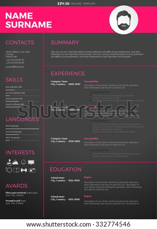 cv resume template free word google docs stock vector modern download microsoft