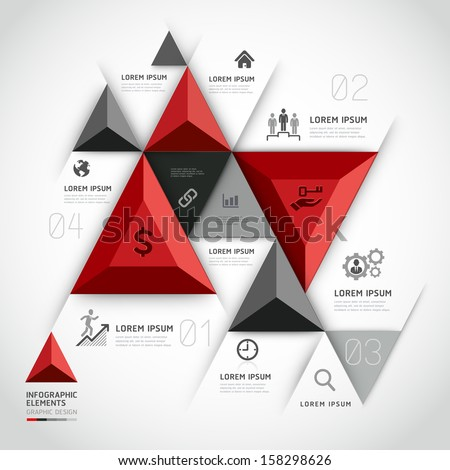 Modern 3d infographics business triangle. Vector illustration. can be used for workflow layout, diagram, banner, number options, step up options, web design. - stock vector