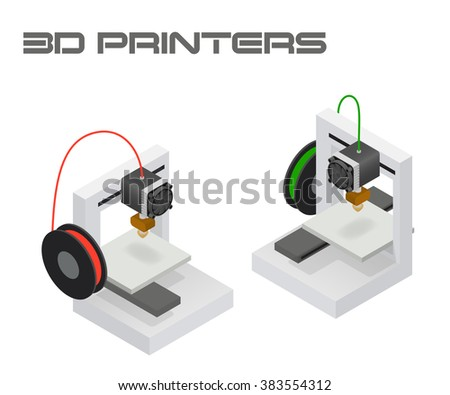 Modern 3D printers in twin isometric projection - stock vector