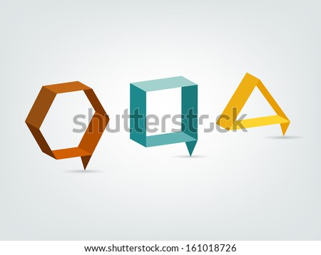 Modern 3 D stylized icon. Rectangle shape. Vector sign. - stock vector