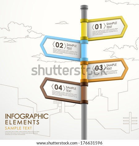 modern 3d vector abstract signpost infographic elements - stock vector
