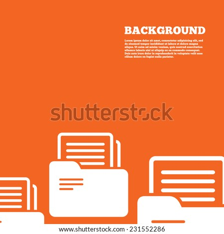 Modern design background. Document folder sign. Accounting binder symbol. Bookkeeping management. Orange poster with white signs. Vector - stock vector