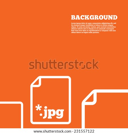 Modern design background. File JPG sign icon. Download image file symbol. Orange poster with white signs. Vector - stock vector