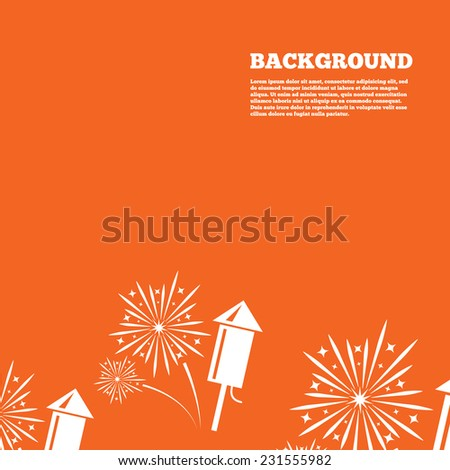 Modern design background. Fireworks with rocket sign icon. Explosive pyrotechnic symbol. Orange poster with white signs. Vector - stock vector