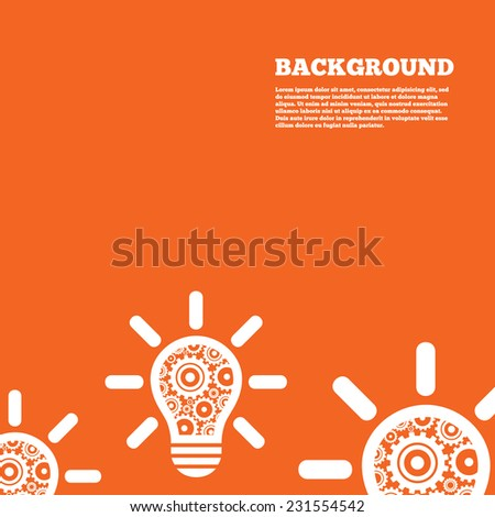 Modern design background. Light lamp sign icon. Bulb with gears and cogs symbol. Idea symbol. Orange poster with white signs. Vector - stock vector