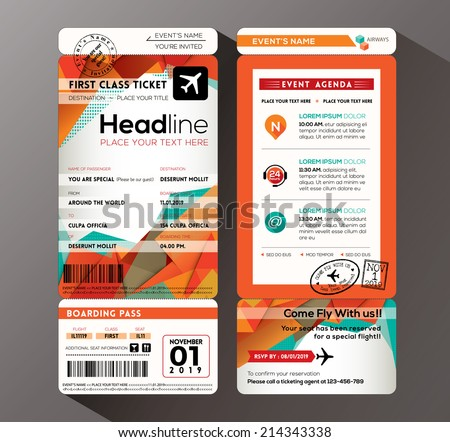 Modern Design Boarding Pass Ticket Event Invitation Card Vector Template  How To Design A Ticket For An Event