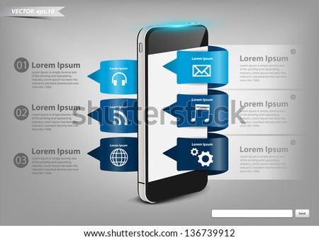 Modern Design button creative with mobile phone, With cloud of application icons vector illustration template design - stock vector