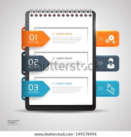 Modern Design button creative with notebook paper, With icons vector illustration template design  - stock vector
