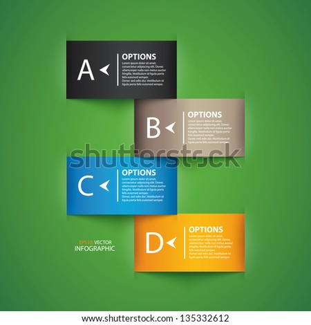 Modern design colorful origami style step up options numbers banner template. Vector illustration - stock vector