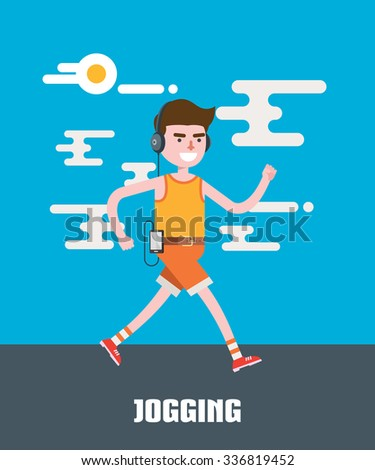 modern design flat character jogging vector illustration - stock vector