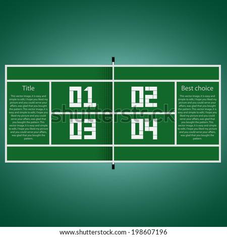 Modern design infographics example tennis court - stock vector