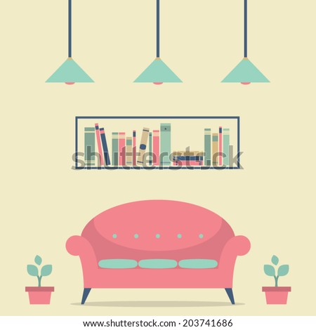 Modern Design Interior Chair and Bookshelf - stock vector