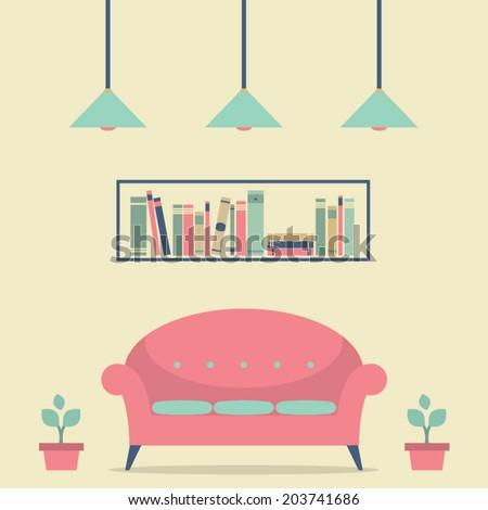 Modern Design Interior Chair and Bookshelf - stock vector