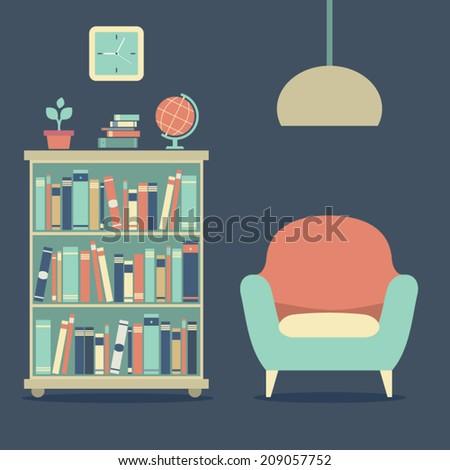Modern Design Interior Sofa And Bookcase - stock vector