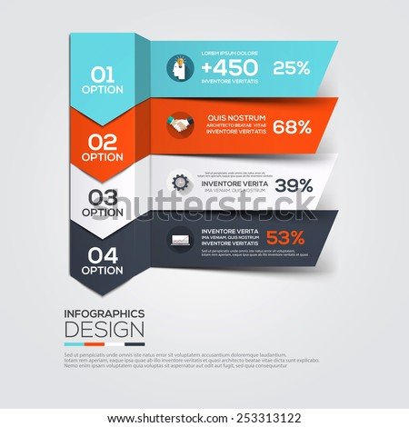 Modern Design Minimal infographic template - can be used for infographics , numbered banners , horizontal cutout lines , graphic or website. Vector - stock vector