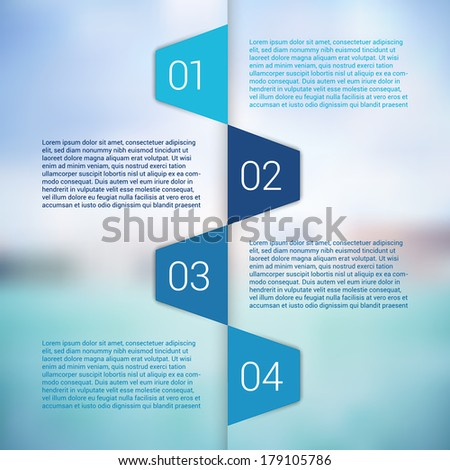 Modern Design Minimal style infographic template layout. Infographics, numbered banner, horizontal cutout lines, graphic or website layout vector with icons on blurred background. - stock vector