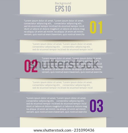Modern Design Minimal style infographic template layout. Infographics, numbered banner, horizontal cutout lines, graphic or website layout vector illustration - stock vector