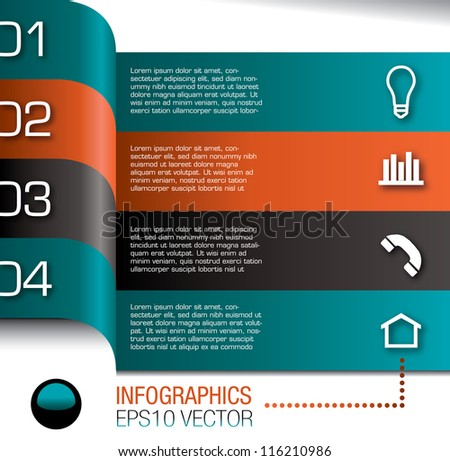 Modern Design template for infographics in graphic or website layout - stock vector