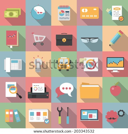 Modern design vector illustration flat icon. Icons with long shadow style. Business management symbol, financial service items, banking accounting. - stock vector