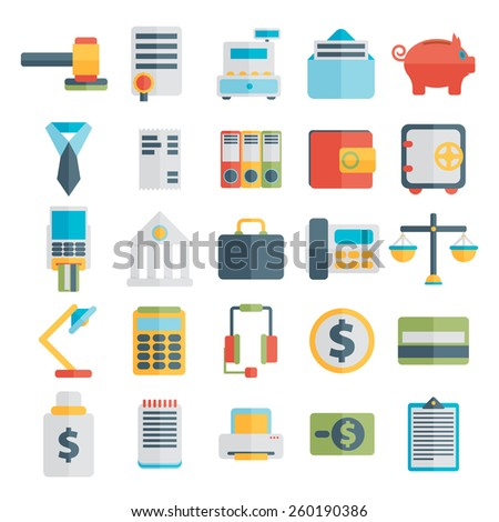 Modern design vector illustration flat icon set  style of financial service items, business management symbol, banking accounting and money objects - stock vector