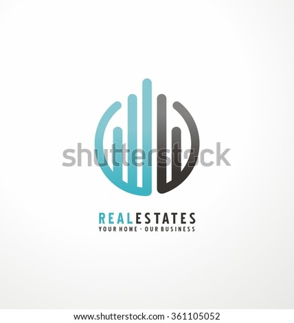 Modern design with commercial building and chart bars. Flat business logo design on white background. Simple style icon layout with rounded lines. Symbol concept for accounting or real estate firm. - stock vector