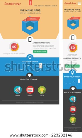 Modern designed responsive web template  - stock vector