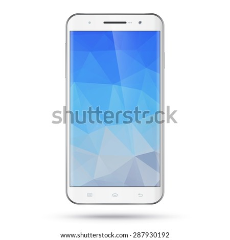 Modern detailed realistic white smartphone, mobile phone, cellphone vector mockup. Blank polygonal screen. Isolated on white background - stock vector