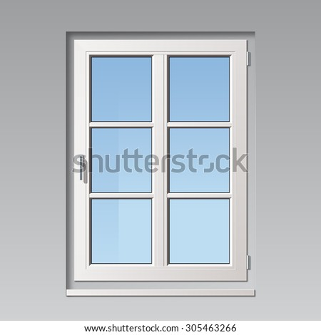 modern detailed white vector window illustration with glass bars - stock vector