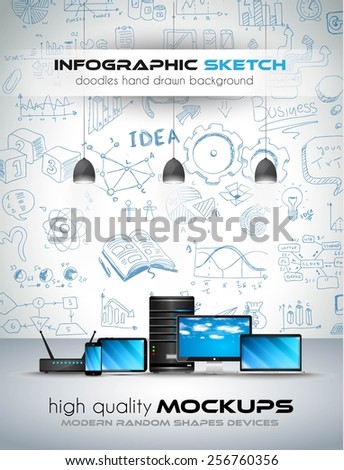 Modern Devices mockup with Concept background with graphs sketches. A lot of hand drawn infographics and related design elements are included plus 3D glossy lamp. - stock vector