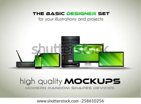 Modern devices mockups for your business projects. Set of laptop, desktop computer, server, modem router, tablet and smartphone with generic look. - stock vector