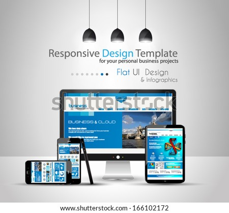 Modern devices mockups for your business projects. web templates included. - stock vector